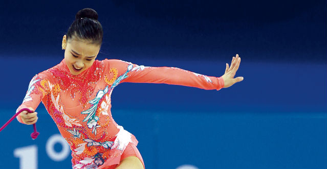 Rhythmic gymnast Son Yeon-jae performs with rope