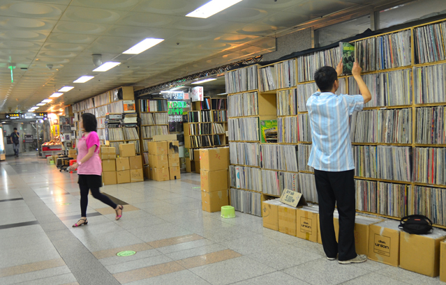 LP shops are clustered together in the Hoehyeon Underground Shopping Arcade.