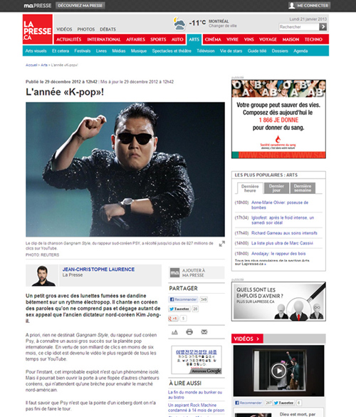 An article published last month in <i>La Presse</i> covers K-pop and its influence over the Asian music industry