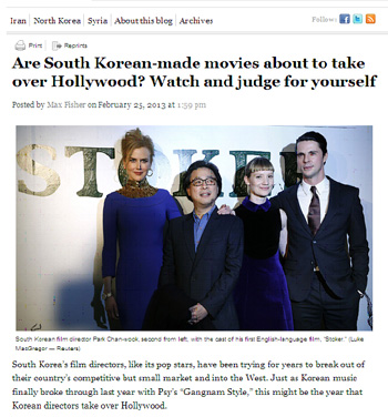The Washington Post reports on the bright prospects of Korean-directed films in their February 25 edition.