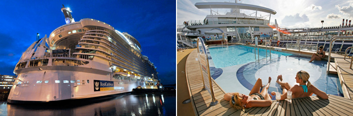 Oasis of the Seas, the world's largest and first Oasis-class cruise ship with a capacity of 5,400 passengers, was constructed at STX Europe's Finland shipyards (photos: Yonhap News).
