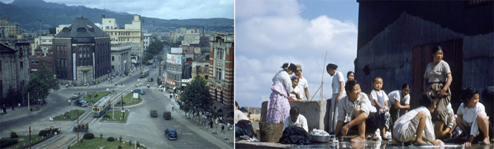 The photographs taken by John Selwyn Cornes include a view of the cityscape of Seoul (left) and the lives of women washing laundry by a brook (photos courtesy of Seoul Museum of History).