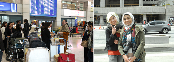 Korea has seen a continuous inflow of visitors this year as evidenced by the steady flow of arriving visitors at Incheon International Airport come out of the gate (left). Tourists from Malaysia said that there is nothing to be concerned about other than unexpectedly cold weather (right) (photos: Gonggam Korea).
