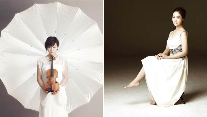 Two young Korean musicians, violinist Shin Zia (left) and pianist Son Yeol-eum (right) performed at the banquet in celebration of the 60th anniversary of the Korea-U.S. alliance (photos: Seoul Arts Center).