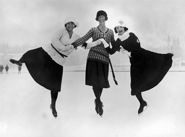 Three medalists in figure skating Ladies' Singles at the 1924 Chamonix Winter Olympics: (from left) Herma Szabo of Austria (gold), Ethel Muckelt of the UK (bronze), and Beatrix Loughran of the U.S. (silver) (photo courtesy of Dong Gang Museum).