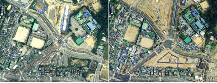 The new version of digital map (right side) provides clearer and more detailed images than previous versions (photos courtesy of the NGII).