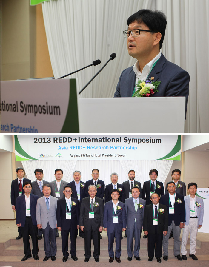 Minister Shin Won-sop of the KFS (fifth from left at bottom line) participates in the REDD+ international symposium on August 27 to share forest management experiences with four Southeast Asian nations (photos courtesy of the KFS).