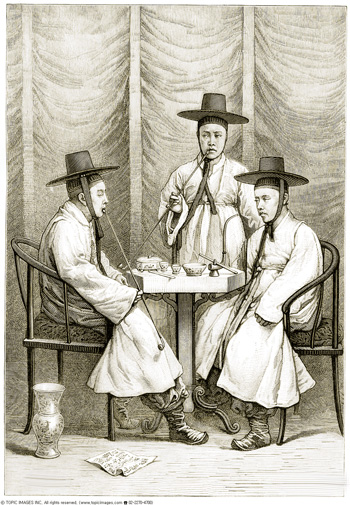 A picture of three Korean scholars wearing black horsehair hats, drawn by an unidentified Western visitor in 1895.