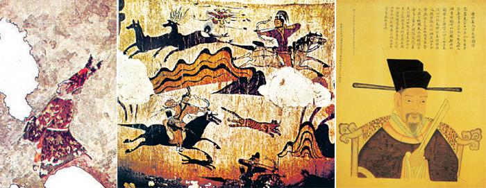 (From left) Gaemachong grave mound (jougwan); Muyongchong grave mound (jomigwan); Gang Min-cheom (963-1021) (bokdu)