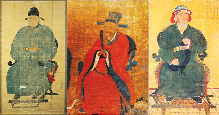 (From left) Jeong Mong-ju (1337-1392)(samo); King Gongmin (r.1351-1374)(bokdu); Yi Po (?-1373)(balip)