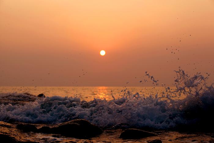 The sun sets over Hanagae Beach.