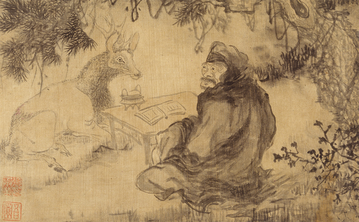 Noksuseongyeong (Teaching the Sacred Book to a Deer) by Jang Seung-eop, depicting a deity sitting under the shade of a pine tree giving holy teachings to a deer.