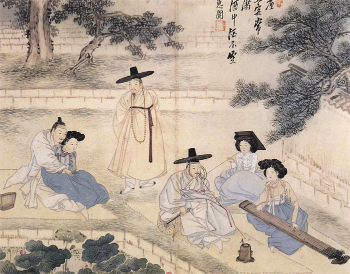 Cheonggeumsangryeon (Listening to a Zither and Enjoying Lotuses) by Sin Yun-bok
