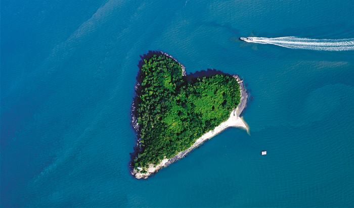 Mogaedo Island resembles a heart when viewed from the air.