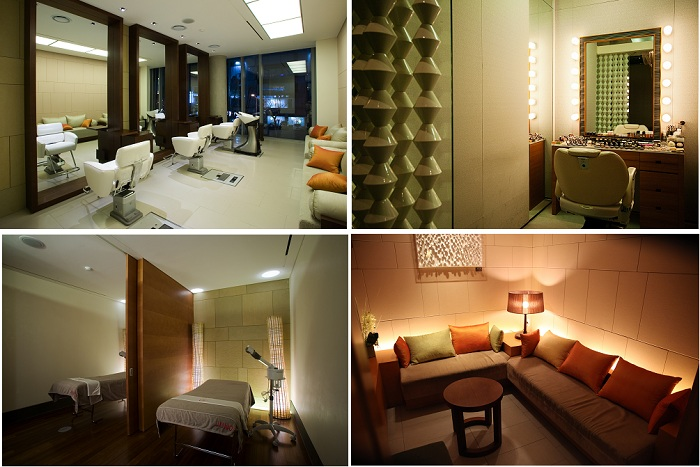 Avenue Juno is equipped with various beauty facilities, including a hair dresser (left, top), makeup artists (right, top), a spa (left, bottom) and the waiting rooms even have comfortable sofas (right, bottom). (photos courtesy of Juno Hair)
