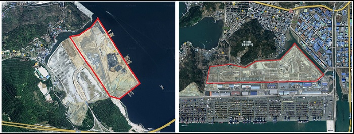 (Left) Around 1.2 square kilometers of land were reclaimed at the Port of Masan; (right) about 0.5 square kilometers of land were reclaimed along the hinterland of Jinhae Port, both in South Gyeongsang Province.