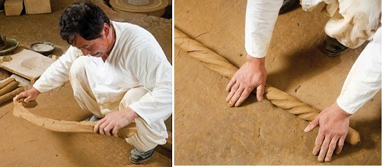 (Left) Strips of clay are used to form the final pottery urns; (right) Roll the strips of clay to form strips.