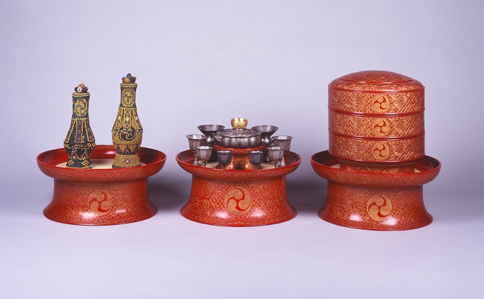 Royal ritual ceremonial receptacles, from the Naha City Museum of History. The items were used in the royal family's private chambers, mostly by females or kings during ritual ceremonies.