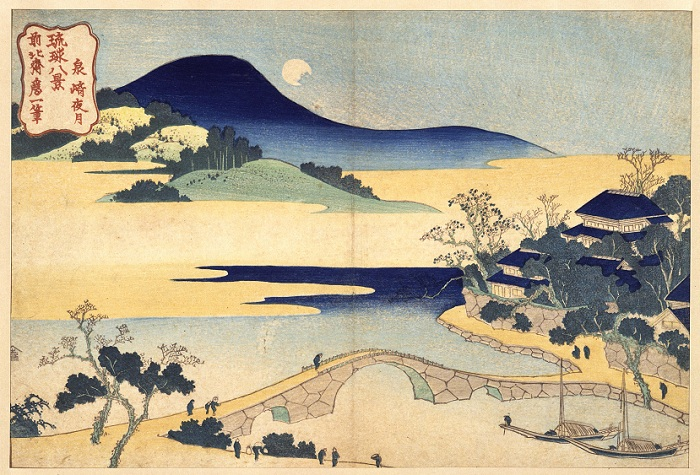 """A Moon in Izumizaki,"" from the Tokyo National Museum. This woodblock print is one of the eight beautiful landscape paintings by Katsushika Hokusai (1760-1849), the well-known <i>ukiyo-e</i> artist, a genre of print and painting that developed in the Edo period."