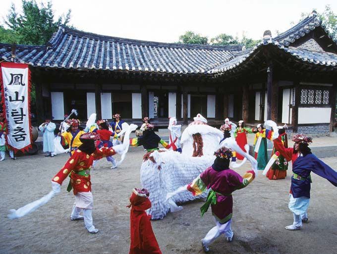 Dancers prepare for their Bongsan Mask Dance performance.