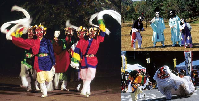 (Left) The Dance of Nojang from the Bongsan mask dance. Somu rides in a sedan chair; (right, above) The noble brothers and Malddugi from the Bongsan mask dance; (right, bottom) The lion dance from the Bongsan mask dance: the dance of Mabu and the white lion.
