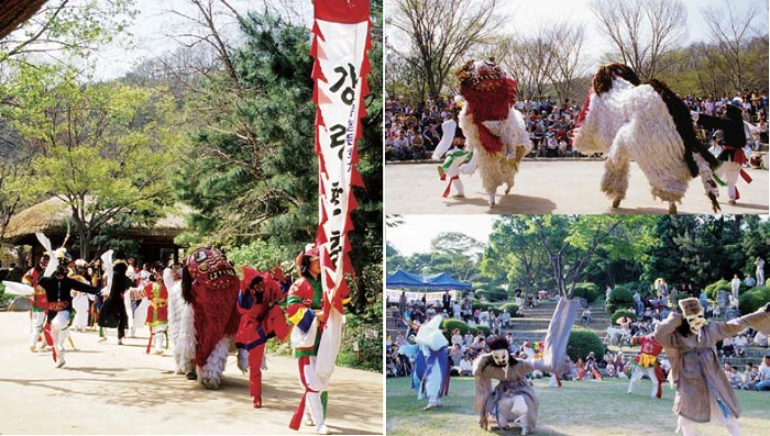 (Left) Performers participate in a street parade preceding the Gangnyeong mask dance; (right, above) The lions' dance from the Gangnyeong mask dance; (right, bottom) The noblemen's dance from the Gangnyeong mask dance.