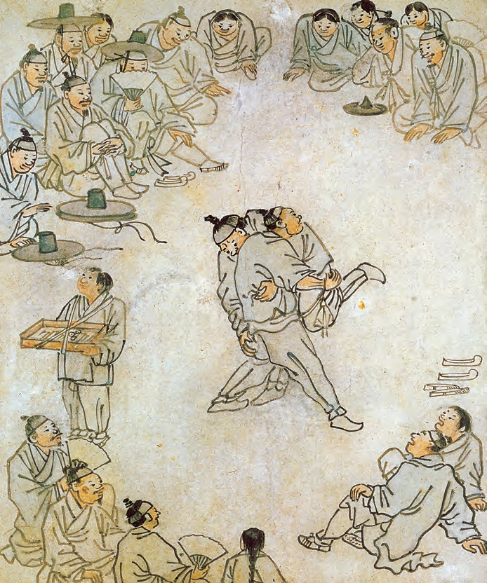 <b>Ssireum (Korean Wrestling) by Kim Hong-do (1745-1806).</b> This genre painting by Kim Hong-do, one of the greatest painters of the late Joseon Period, vividly captures a scene of traditional Korean wrestling where two competing wrestlers are surrounded by engrossed spectators.