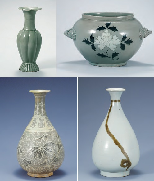 (Clockwise from left top) Celadon Melon-shaped Bottle (Goryeo, 12th century); Celadon Jar with Peony Design (Goryeo, 12th century); White Porcelain Bottle with String Design in Underglaze Iron (Joseon, 16th century); Buncheong Bottle with Lotus and Vine Design (Joseon, 15th century) (Source: National Museum of Korea)