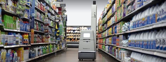 LG Electronics invested in USD 3 million into the U.S.-based robotics firm BossaNova Robotics on June 22. The photo shows a BossaNova Robotics service robot managing the shelves at a retail store. (LG Electronics)