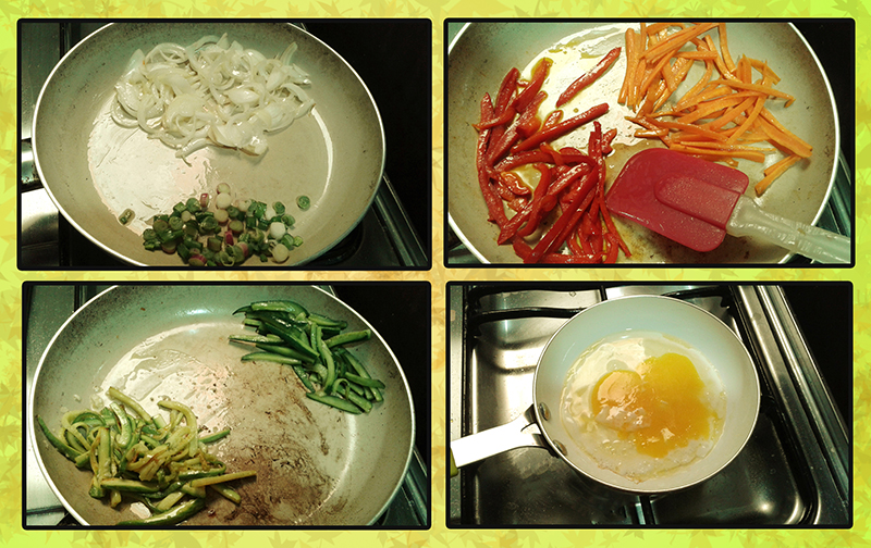 Cooking vegetables and eggs
