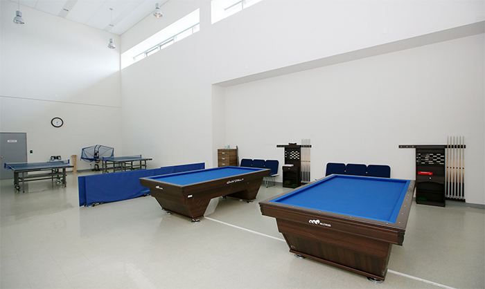 There are table tennis tables and billiard tables at the center.