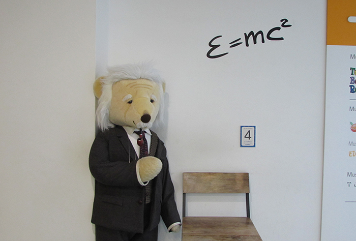 The Einstein teddy bear is on display. It seems as if it's explaining the mass–energy equivalence theory to the visitors.