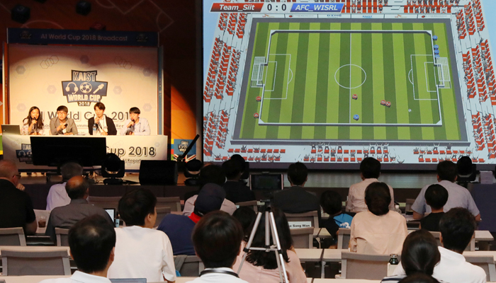 The AI World Cup 2018 International Tournament is held at the Korea Advanced Institute of Science and Technology (KAIST) in Daejeon on Aug. 22. (KAIST)