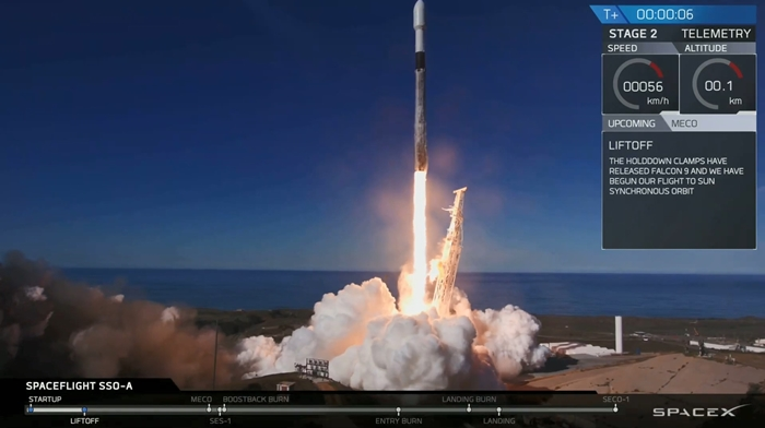A SpaceX Falcon 9 rocket carries the Korean communication satellite launch on Dec. 3 at Vandenberg Air Force Base in California (SpaceX)