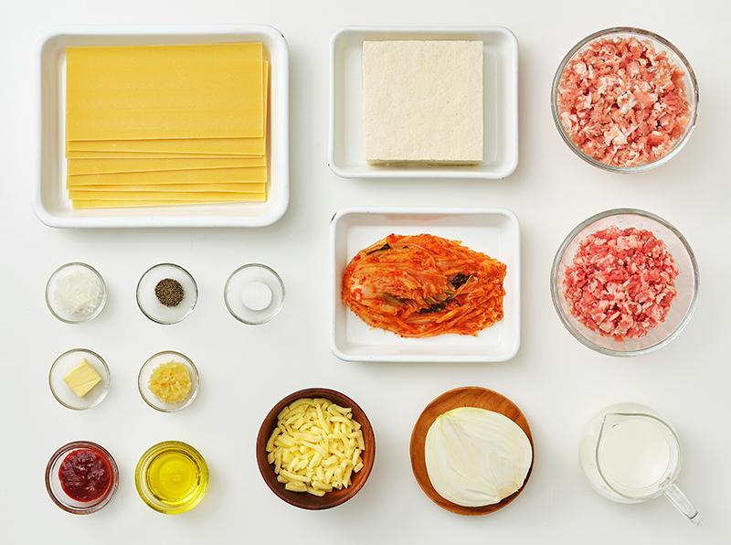 Zutaten für Kimchi-Lasagne