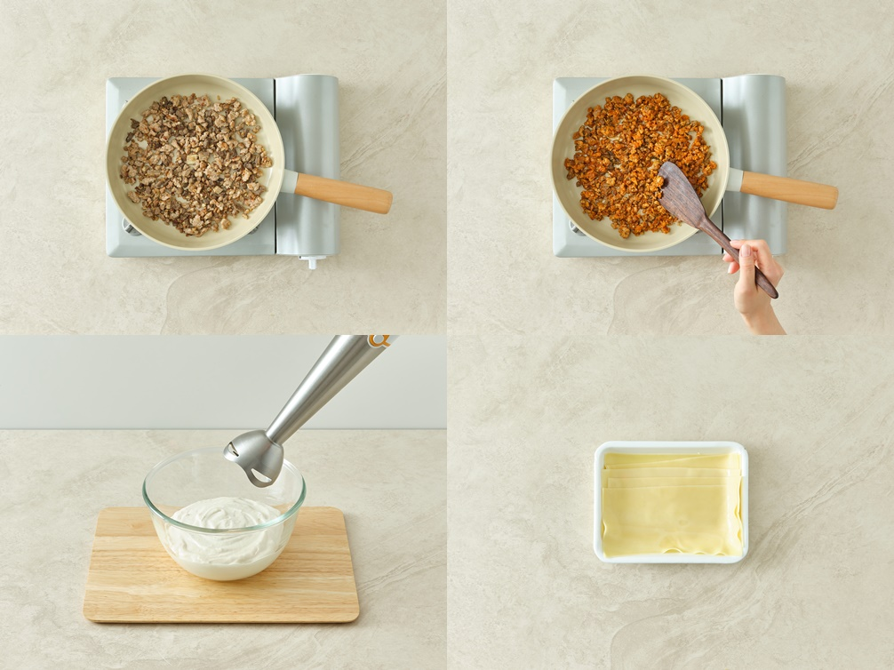 Zubereitung von Kimchi-Lasagne