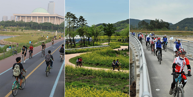 From left: the cycling route along the Han River leads riders to the area around the National Assembly building in Yeouido; the trail along the Yeongsan River in Hampyeong County, Jeollanam-do; cyclists ride over the Nakdong River