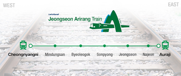 The A-Train departs Cheongnyangni Station in Seoul and arrives at Auraji Station in Gangwon-do, hitting Mindungsan, Byeoleogok, Sonpyong, Jeongseon and Najeon stations along the way.