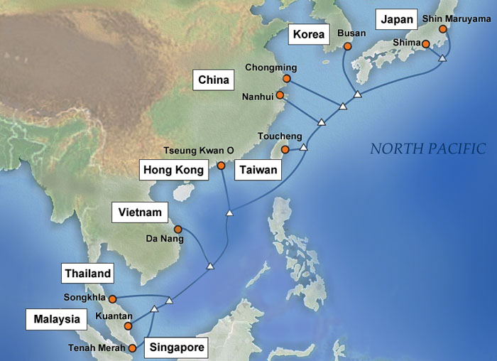 The new Asia Pacific Gateway (APG) undersea cable system, set to be completed in early 2015, will connect the above nations and regions across East Asia.