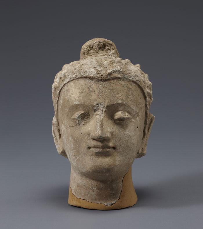 Buddha head, Hadda, 4th century, Stucco, 12.1cm tall.