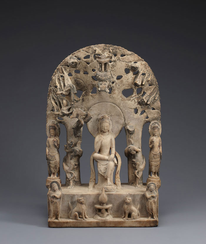 The Pensive Bodhisattva, Northern Qi Dynasty (550-577), white marble, 44.2cm tall.