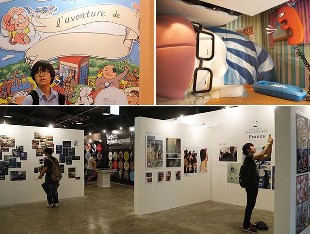 Visitors to the 15th annual Bucheon International Comics Festival learn about the works of Korean comics artists active throughout the world (photos courtesy of KOMACON).