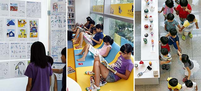 At the Korea Manhwa Museum, which was the venue for the recent Bucheon International Comics Festival, younger visitors explore the history of Korea's comics industry, take advantage of ample reading material in the comics reading room, and browse the crafts displays (photos courtesy of KOMACON).