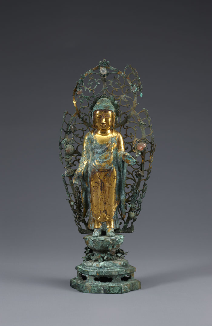 A gilt-bronze Buddha statue is from United Silla times, sometime between the eighth and ninth centuries.