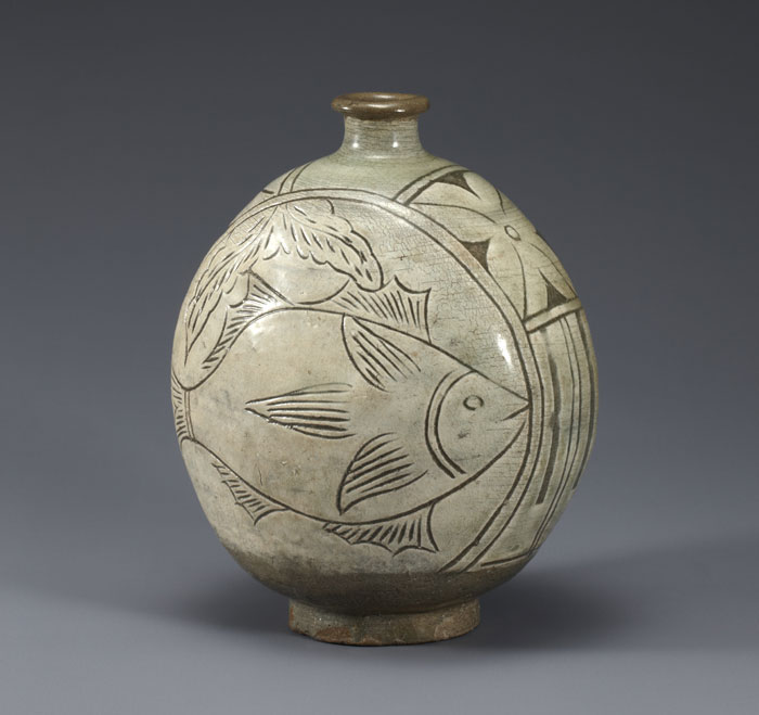 A piece of <i>buncheong</i> ware with a fish design, 15th or 16th century, Joseon.