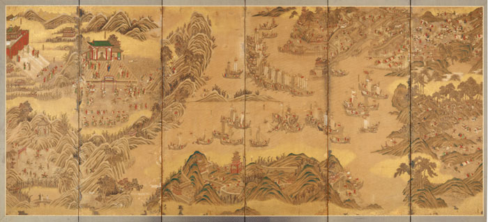 """Defeat of the Japanese Invaders,"" Japan, 19th century, ink and color on silk."