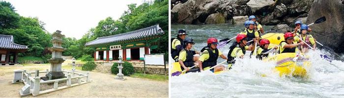 Dopiansa Temple (left) © KTO. Rafting along the Hantangang River (right) © Yonhap News