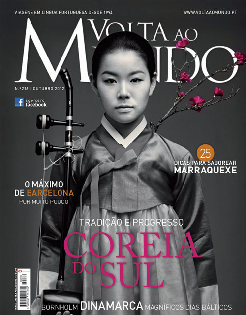 The Portuguese travel magazine Volta ao Mundo ran a photo of Korean women wearing Hanbok, with the title