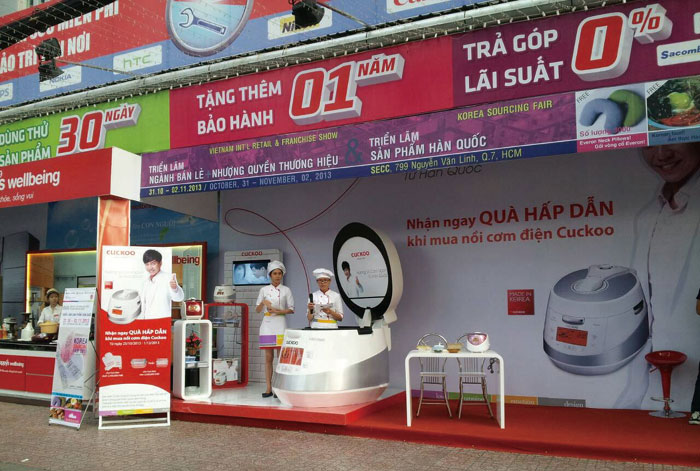 A PR event is held to promote Cuckoo rice cookers in Vietnam.