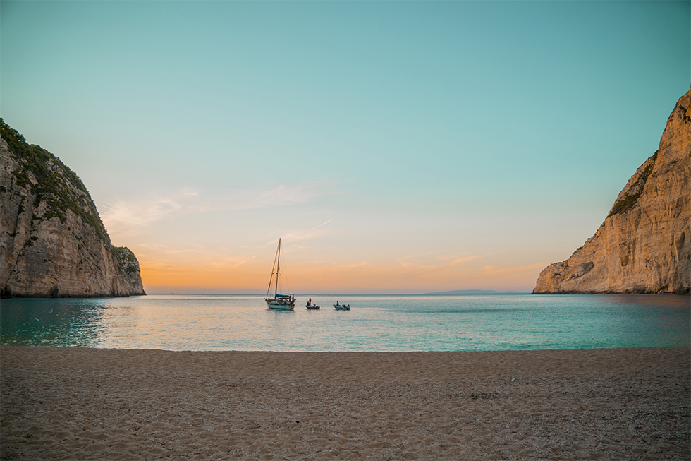 Navagio Beach On The Island Of Zakynthos In Greece Is Background For Descendants